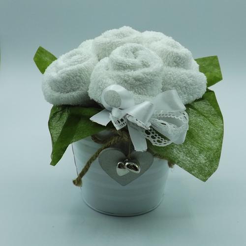 vaso latta bianco 6 rose