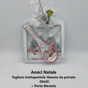 amici di natale tagliere 20x20 + porta mestolo