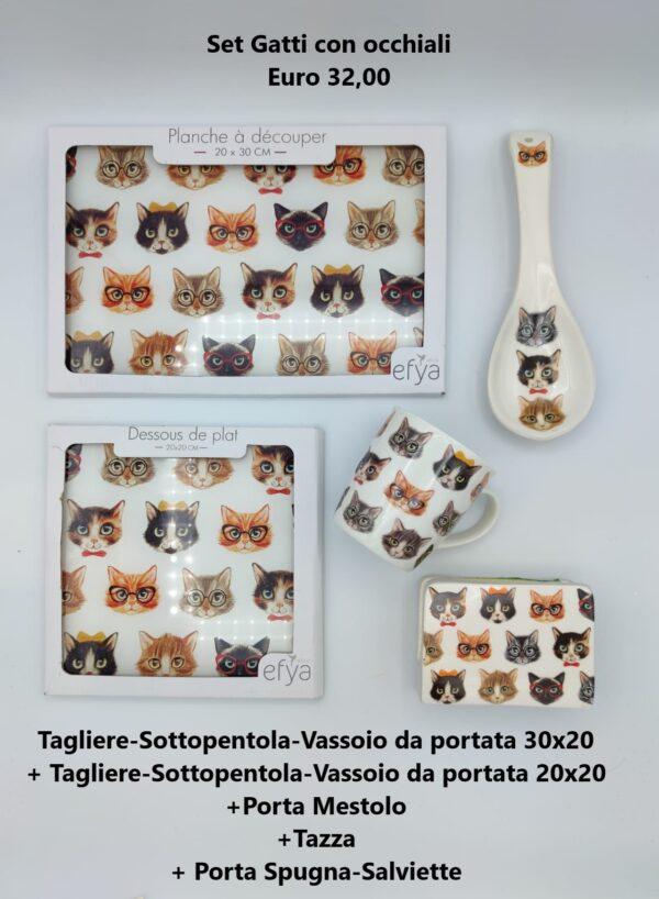 set gatti con occhiali