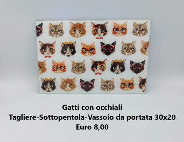 tagliere 30x20 gatti con occhiali